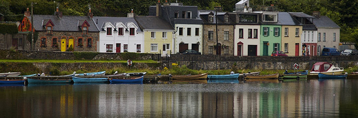 Colourful buildings on the shores of Lough Derg at Killaloe, Ireland.